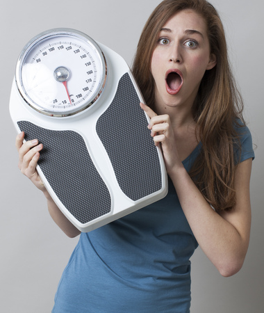 kilos: surprise in kilos or pounds control for amazed young woman