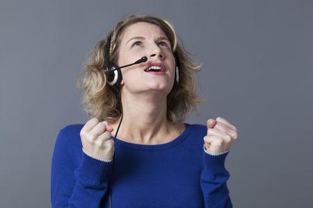 temper: frustrated 20s blonde entrepreneur loosing her temper on the phone