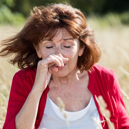 holding nose: Hay fever allergies - beautiful mature woman with pollen sickness holding in sneezing in dry meadow,natural summer daylight,wind blowing
