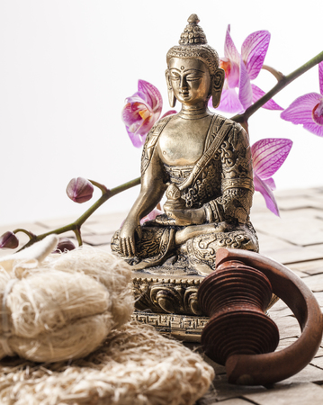 asian culture: Zen Buddha for feng shui and ayurveda spa with Asian Culture in Mind Stock Photo
