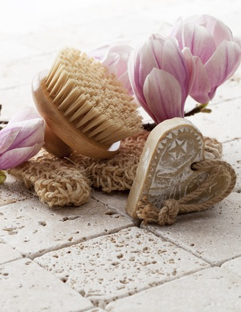 exfoliation: Magnoli spring flowers with brush for body exfoliation massage and beauty