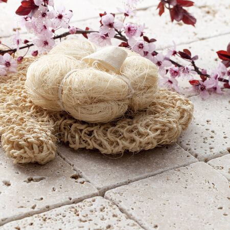 retreat: fresh retreat with loofah sponge and glove with cherry blossom flowers Stock Photo