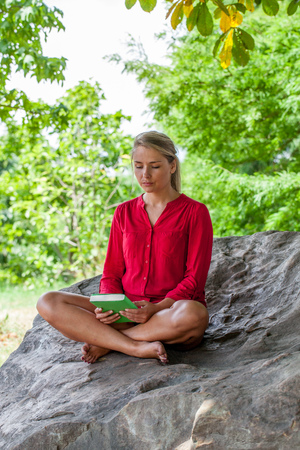 suntanned: outdoors reading - beautiful young suntanned blond woman sitting on a giant stone in the shade staring at her new book,natural summer daylight Stock Photo
