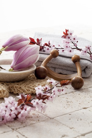 indulging: spring flowers and massage accessories for indulging spa