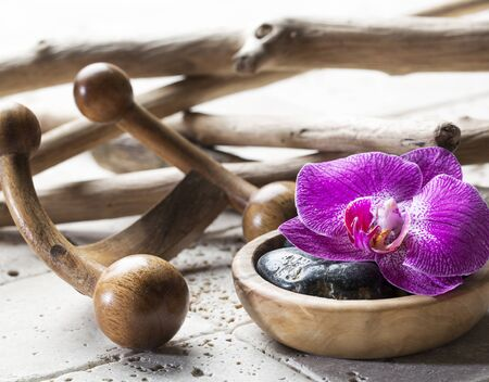 indulging: elements for natural beauty, hydration and massage concept Stock Photo