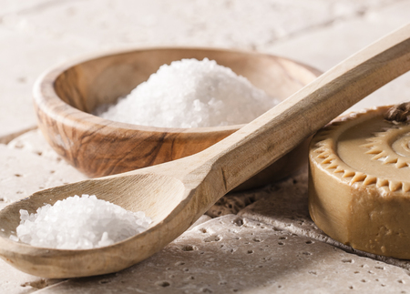 bath: bath salt exfoliation and soothing setting for spa Stock Photo