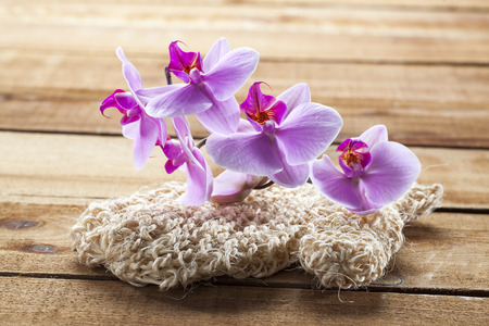 exfoliation: concept of massage and washing-up with loofah glove and orchids for exfoliation Stock Photo