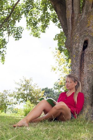 outdoors reading - focused young suntanned blond woman reading a book in the shade of a tree for freshness,natural summer daylight