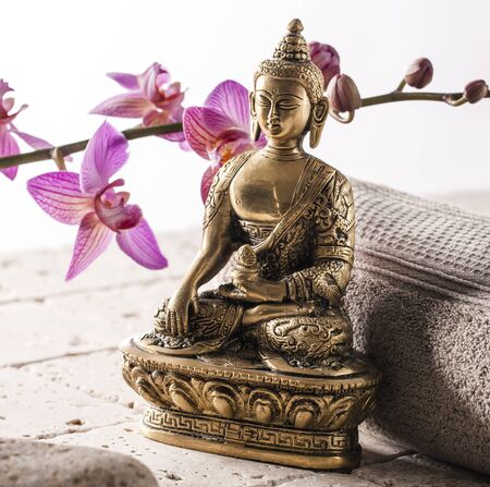 inner beauty: Bronze Buddha for symbol of spirituality and inner beauty spa at home