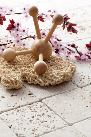 exfoliation: wellbeing still-life - exfoliation and massage with loofah and cherry blossom flowers at feng shui spa Stock Photo