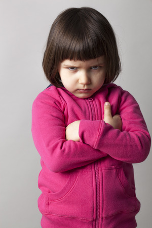 angry little kid showing frustration and disagreement