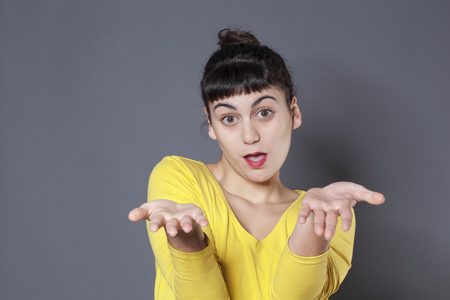 fair skin: negligence concept - blaming brunette girl accusing someone else for mistake and cowardliness,studio shot Stock Photo