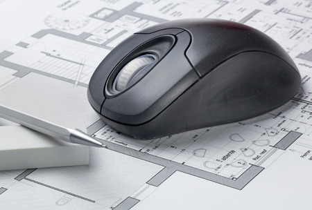 e market: hand drawing and computer rendering for architect work with blueprint and computer mouse Stock Photo