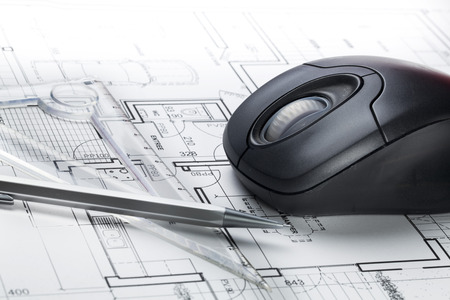 e market: computer rendering and hand design for architect business with blueprint and computer mouse
