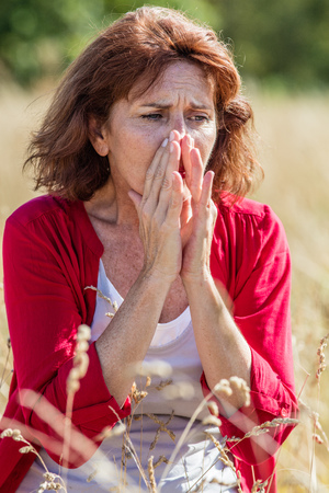 50s: outdoors illness - beautiful 50s woman sneezing for rhinitis,allergies or hay fever reaction,summer daylight Stock Photo