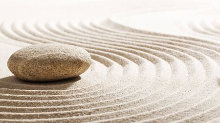 suppleness: pebble creating obstacle in zen meditation Stock Photo