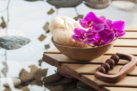 purifying: purifying massage with hydration with loofah, massage kit and pink orchids for beauty, femininity and relaxation