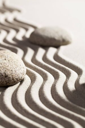tranquillity: stones and zen sand for beauty spa or tranquillity concept Stock Photo