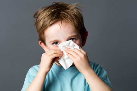 healthcare learning - smiling young preschooler with red hair and blue eyes using a tissue after a cold or having rhinitis allergies, grey background studio
