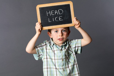 lice: cute 5-year old child standing and holding a school slate as a head lice sign to protest and fight against the enemy, grey background studio