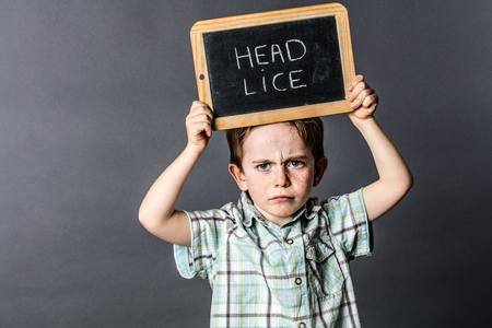 complain: frowning preschool child standing and holding a stressful writing slate as a head lice protest to complain about or fight against the hair enemy, grey background studio