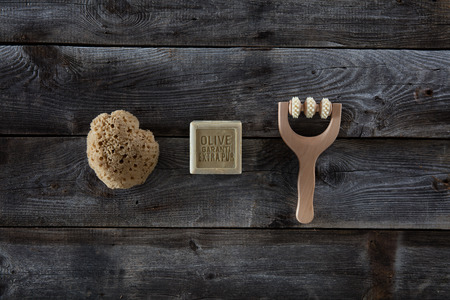 Wellbeing Flat Lay For Minimal Wallpaper With Natural Sponge Stock Photo Picture And Royalty Free Image 63660497