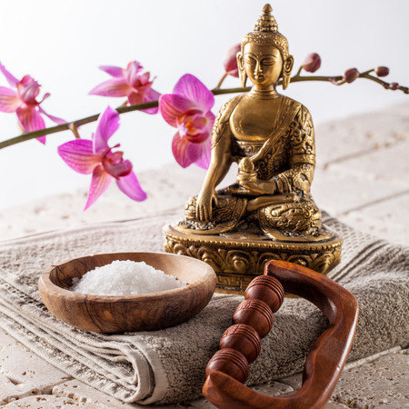 inner beauty: spiritual inner beauty bath with buddhism, meditation and massage for pure retreat with minerals and zen detox Stock Photo