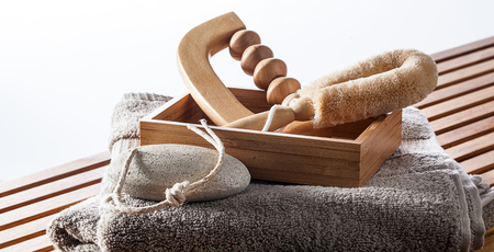 set of massage, exfoliation and peeling pampering accessories for body and foot care after shower and detox spa