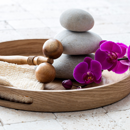 inner beauty and harmony for pure body massage after shower or bath over symbol of peace and femininity