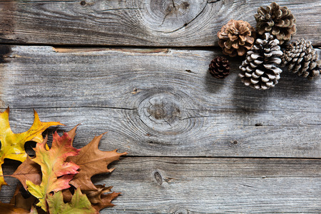 winter decor with colored dead leaves, fir cones on old wood background for symbols of sustainable concept for copy space, flat lay