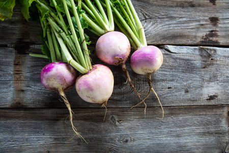 rustic organic turnips with fresh green tops and roots on genuine wood background for sustainable agriculture and vegetarian food, flat lay