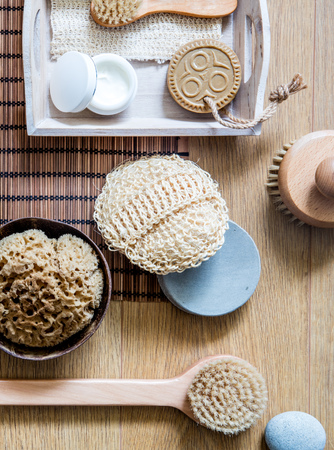 natural, zero waste loofah, sponge and wooden brushes for clean body, face and healthy beauty care, above view
