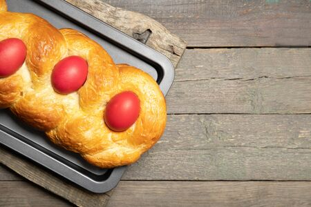 Greek Easter cake. Easter. Greek easter bread.Place for text Stock Photo