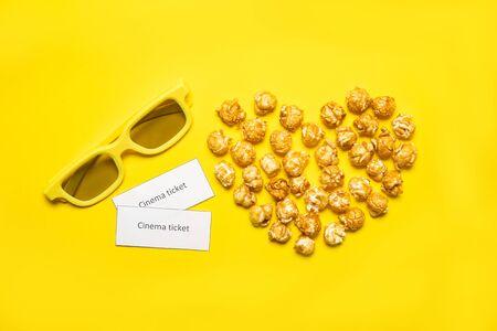 Caramel Popcorn on a Yellow Background