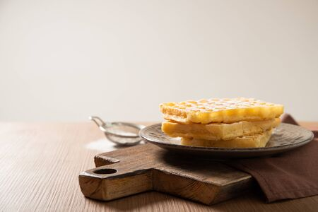 Plate with delicious Belgian waffles