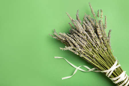 Lavender flowers on a green background. Top view, place for text. Stok Fotoğraf