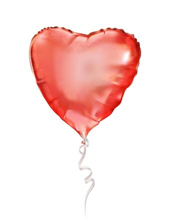Pink balloon heart of foil. Party balloons event design decoration.