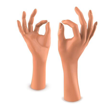 Beige mannequin female hand. Vector 3D illustration isolated on a white background Vettoriali