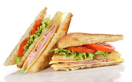 dieta: Dos mitades de sandwich. Stock Photo