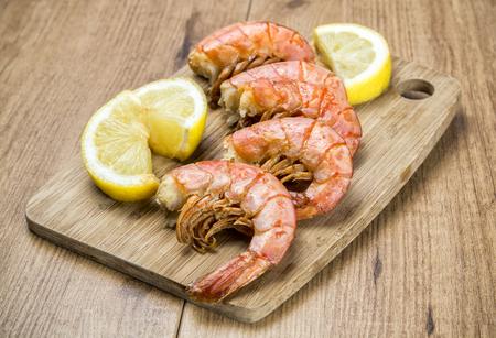 appetizers menu: grilled shrimps Stock Photo