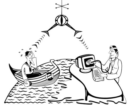 Distant doctor performing a consultation via satellite Vector Illustration