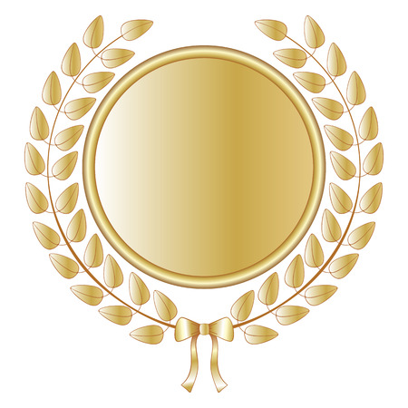 Golden laurel wreath with medal and a satin bow