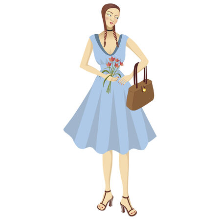 blushing: Pretty girl in a blue dress with a bunch of flowers and a handbag Illustration