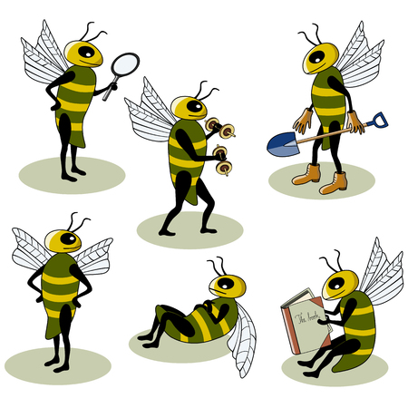 Set of adorable bees busy doing different things Vector