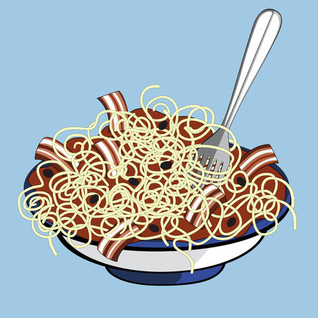 Plate of spaghetti with tomato sauce, bacon and black olives