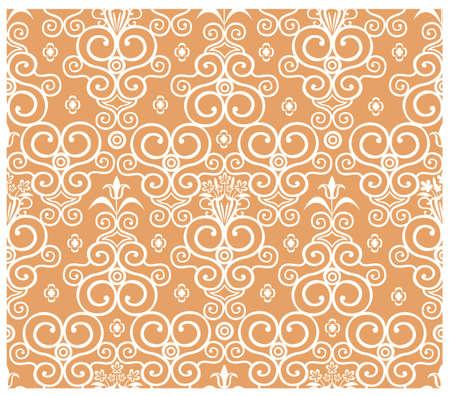 Seamless floral pattern on orange background Vector