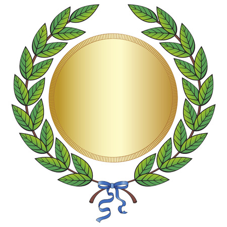 Laurel wreath with medal and blue ribbon Illustration