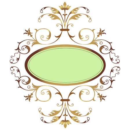 Frame with golden floral ornament Illustration