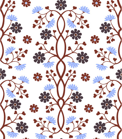 cornflowers: Seamless floral pattern in brown and blue on white background Illustration