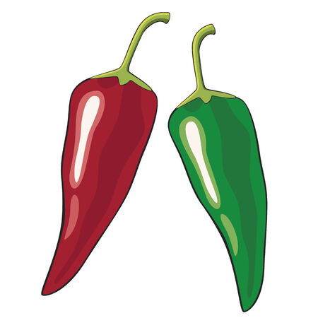 jalapeno: Red and green chili peppers Illustration